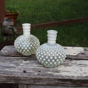 Vintage Hand Blown Glass Fenton Moonstone Vases
